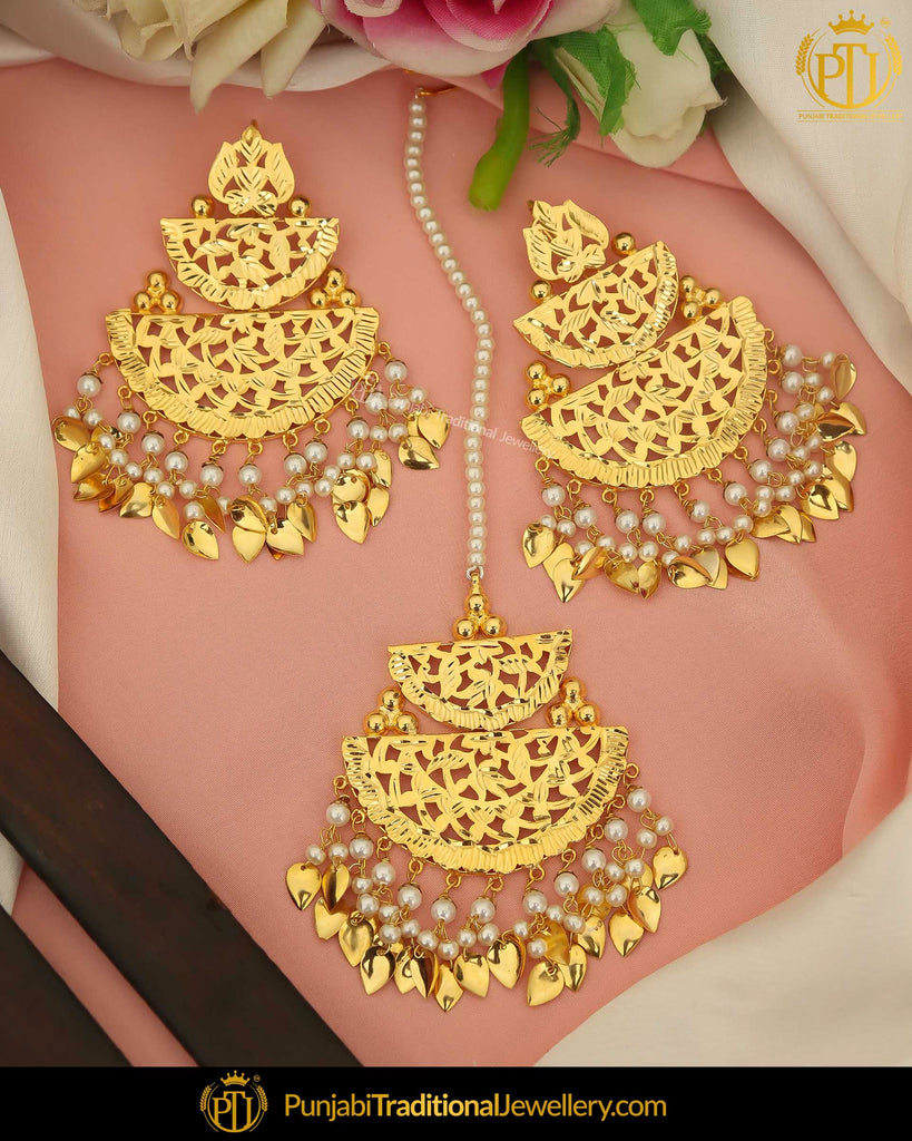 Gold Finished Pearl Pippal Patti Earring Tikka Set | Punjabi Traditional Jewellery Exclusive