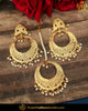 Gold Finished Pearl Jadau Earring Tikka Set | Punjabi Traditional Jewellery Exclusive