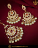 Hand Painted Meena Emerald Pearl Kundan Earrings & Tikka| Punjabi Traditional Jewellery Exclusive