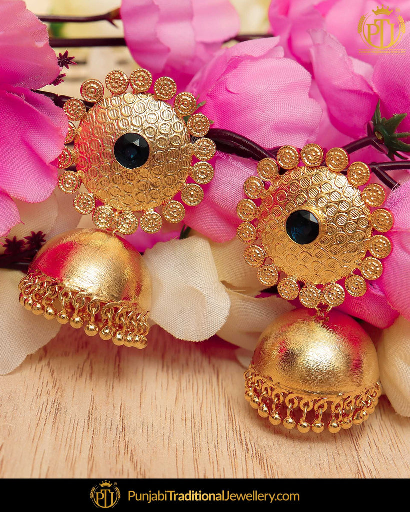 Gold Finished Blue Patra Jhumki Earrings | Punjabi Traditional Jewellery Exclusive