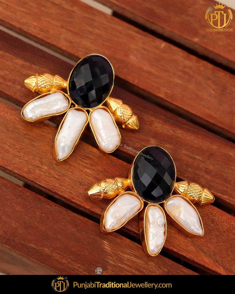 Gold Finished Black Stud Earrings | Punjabi Traditional Jewellery Exclusive