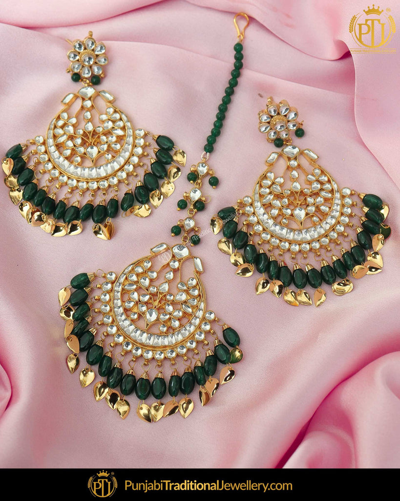 Gold Finished Emerald Pearl Kundan Earring Tikka Set | Punjabi Traditional Jewellery Exclusive