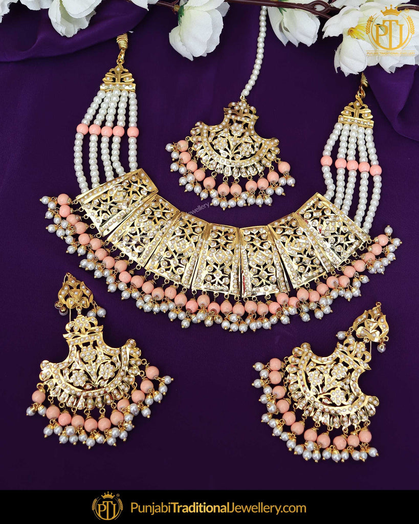 Gold Finished Peach Jadau Pearl Necklace Set  | Punjabi Traditional Jewellery Exclusive