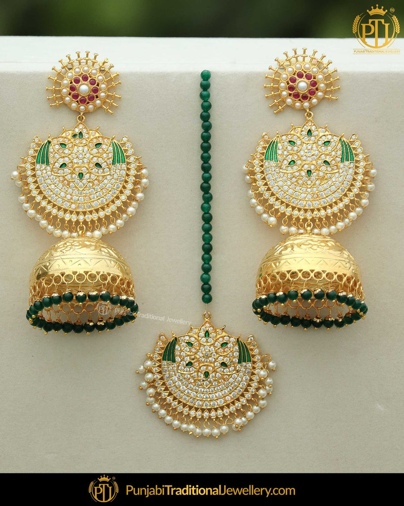 Gold Finished Jhumki Emerald Pearl Earring Tikka Set | Punjabi Traditional Jewellery Exclusive