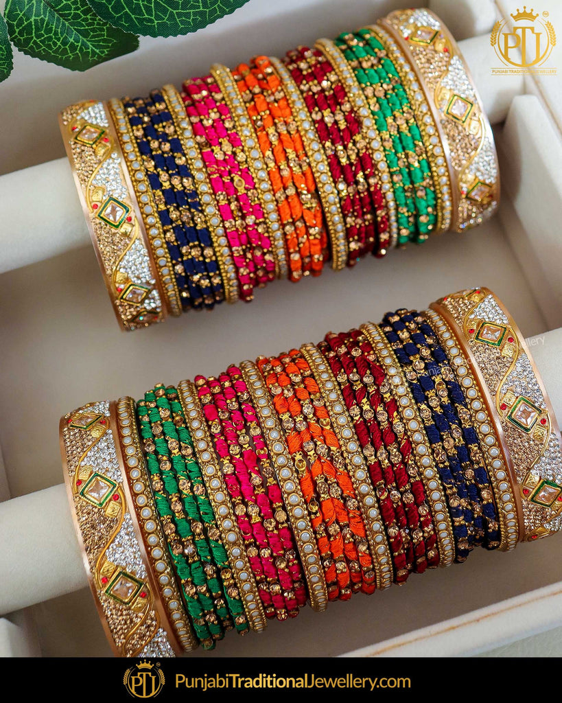 Gold Finished Satrangi Thread Bangles Set (Both Hand Pair) | Punjabi Traditional Jewellery Exclusive
