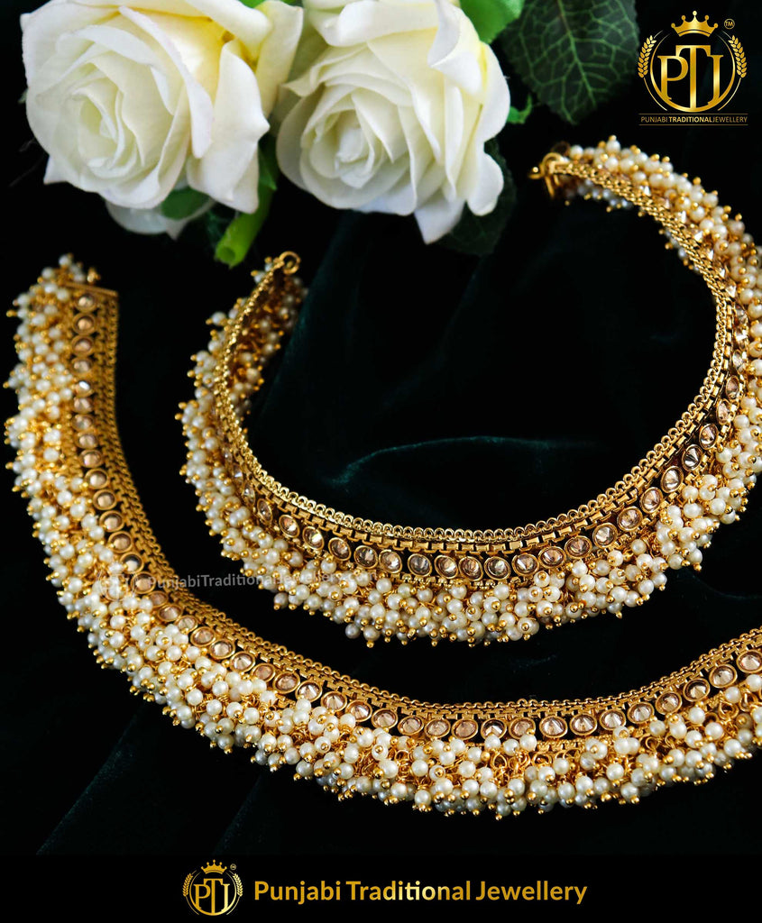 Antique Gold Finished Jodha Champagne Stone Payal | Punjabi Traditional Jewellery Exclusive