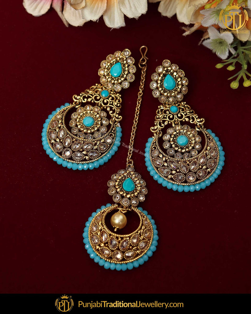 Gold Finished Chamapgne Stone Pearl Firozi Earring Tikka Set | Punjabi Traditional Jewellery Exclusive