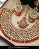 Gold Finished Oragne Kundan Pearl Necklace Set | Punjabi Traditional Jewellery Exclusive