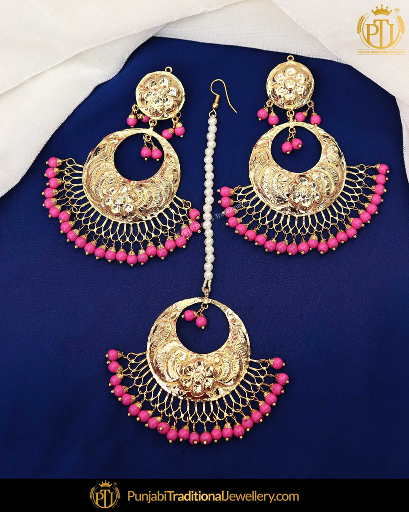 Gold Finished Pink Patra Pearl Earring Tikka Set  | Punjabi Traditional Jewellery Exclusive