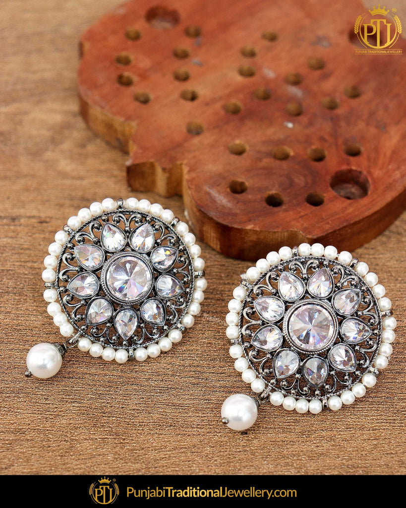 Silver Finished Polki Stud Earrings | Punjabi Traditional Jewellery Exclusive