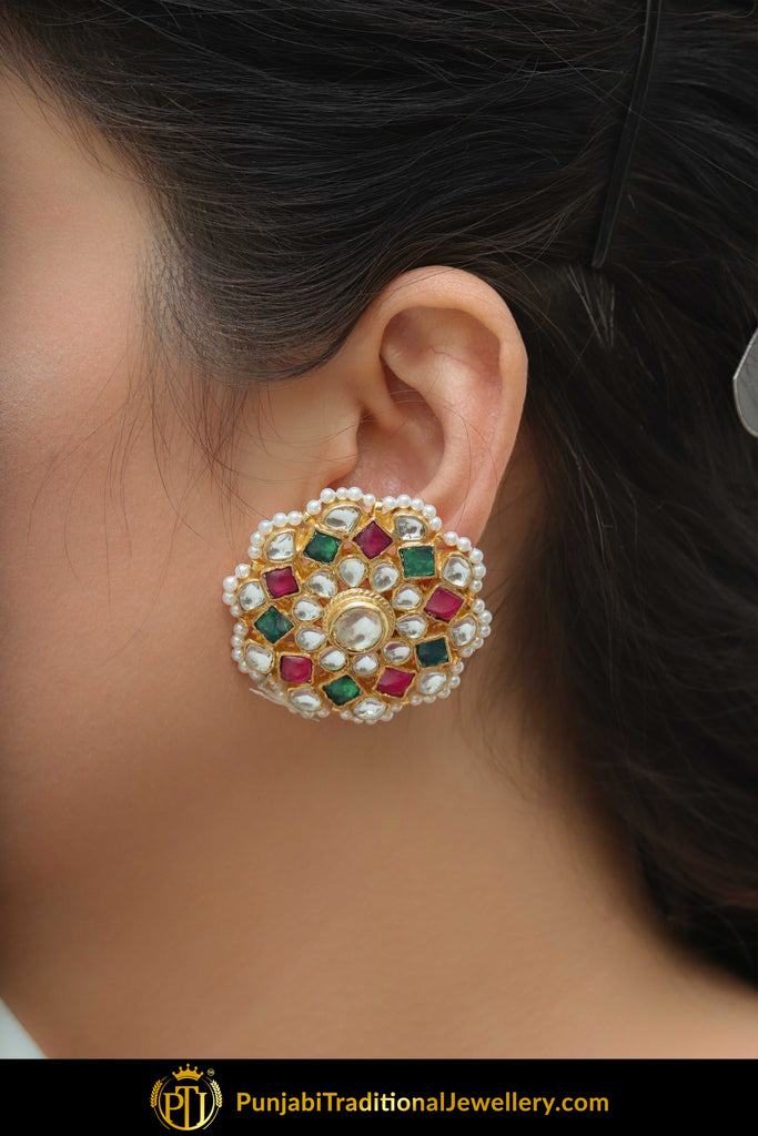 Abida Gold Finished Navratan Kundan Stud Earrings Punjabi Traditional Jewellery Exclusive