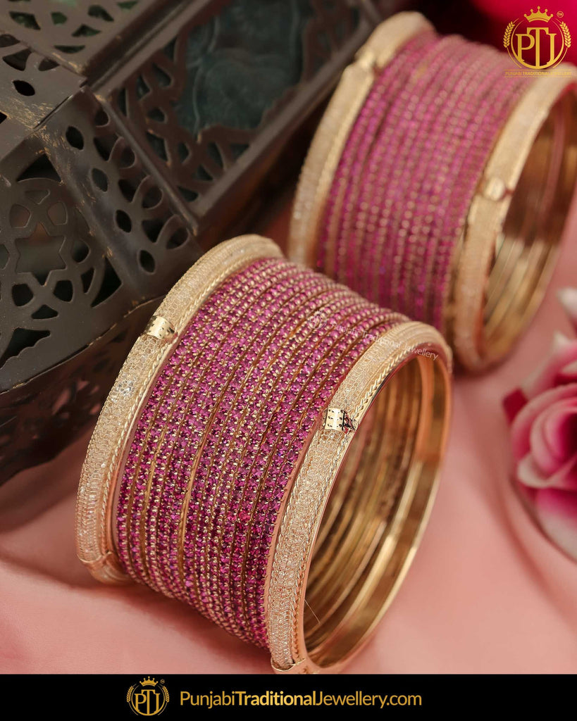 Antique Gold Finished Purple AD Stone Bangle Set (Both Hand Pair) | Punjabi Traditional Jewellery Exclusive
