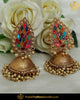 Antique Gold Finished Navratan Polki Jhumki Earrings By Punjabi Traditional Jewellery
