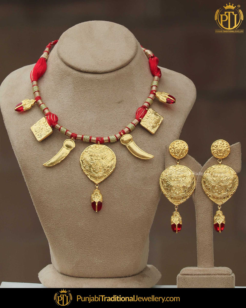 Inaaya Sing Tavit Rubby Daakh Necklace, Tikka & Earrings | Punjabi Giddha Jewellery | Punjabi Traditional Jewellery Exclusive