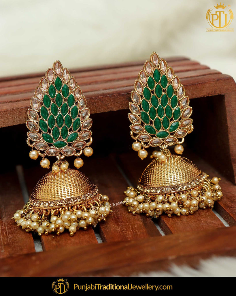 Antique Gold Finished Green Polki Jhumki Earrings By Punjabi Traditional Jewellery