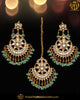 Gold Finished Green Kundan Earrring Tikka Set | Punjabi Traditional Jewellery Exclusive