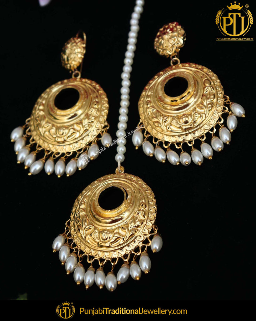 Gold Finished White Drops Earring Tikka Set | Punjabi Traditional Jewellery Exclusive