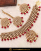 Gold Finished Rubby Chamapgne Stone Pearl Necklace Set | Punjabi Traditional Jewellery Exclusive