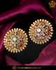 Gold Finished Polki Stud Earrings | Punjabi Traditional Jewellery Exclusive