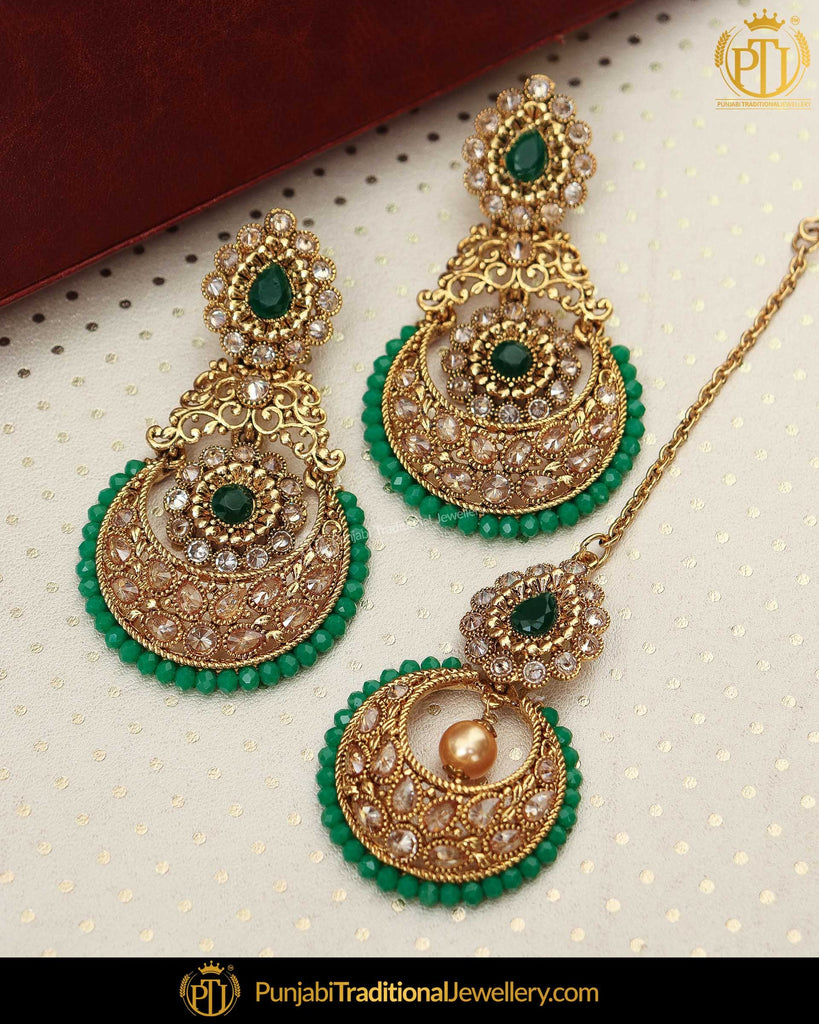 Gold Finished Chamapgne Stone Pearl Emelrad Earring Tikka Set | Punjabi Traditional Jewellery Exclusive