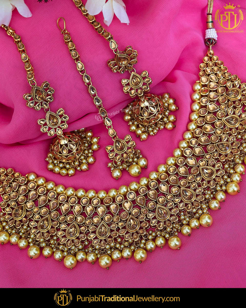 Gold Finished Kundan Pearl Choker Necklace & Sahare Earrings | Punjabi Traditional Jewellery Exclusive
