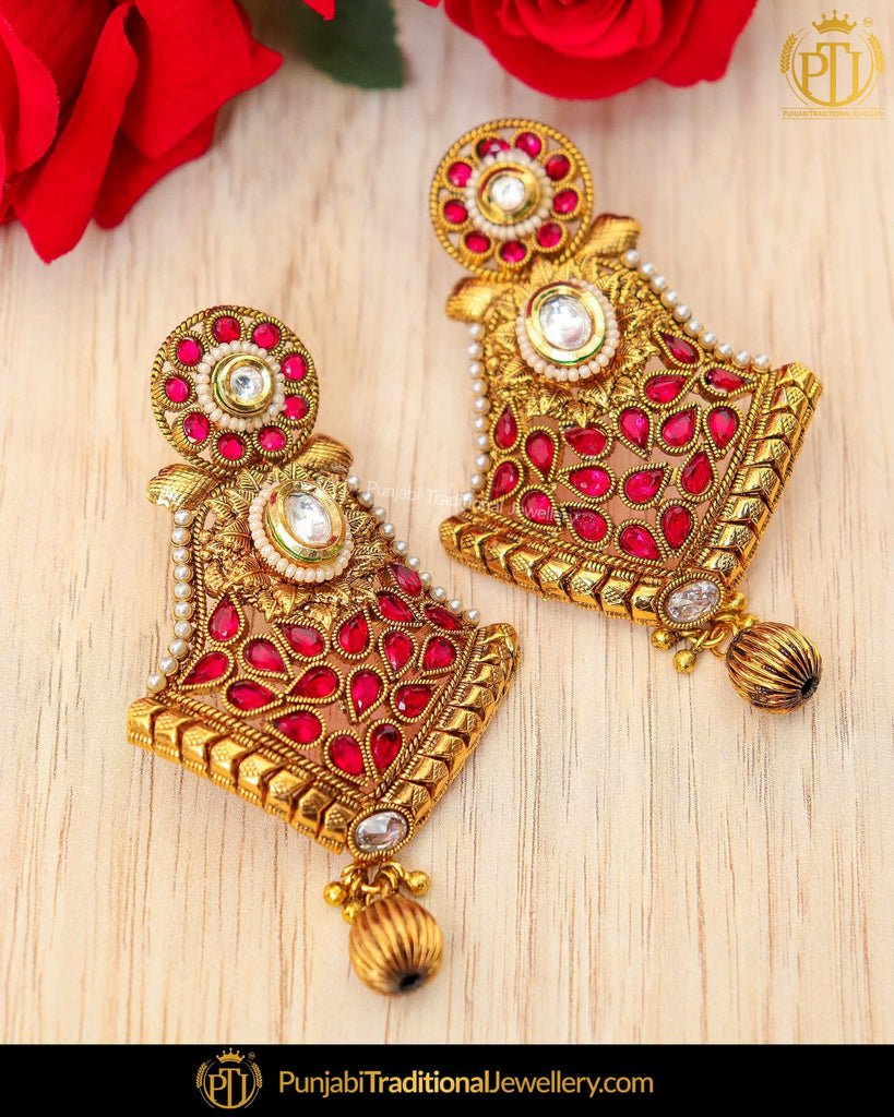 Gold Finished Rubby Chamapgne Stone Earrings | Punjabi Traditional Jewellery Exclusive
