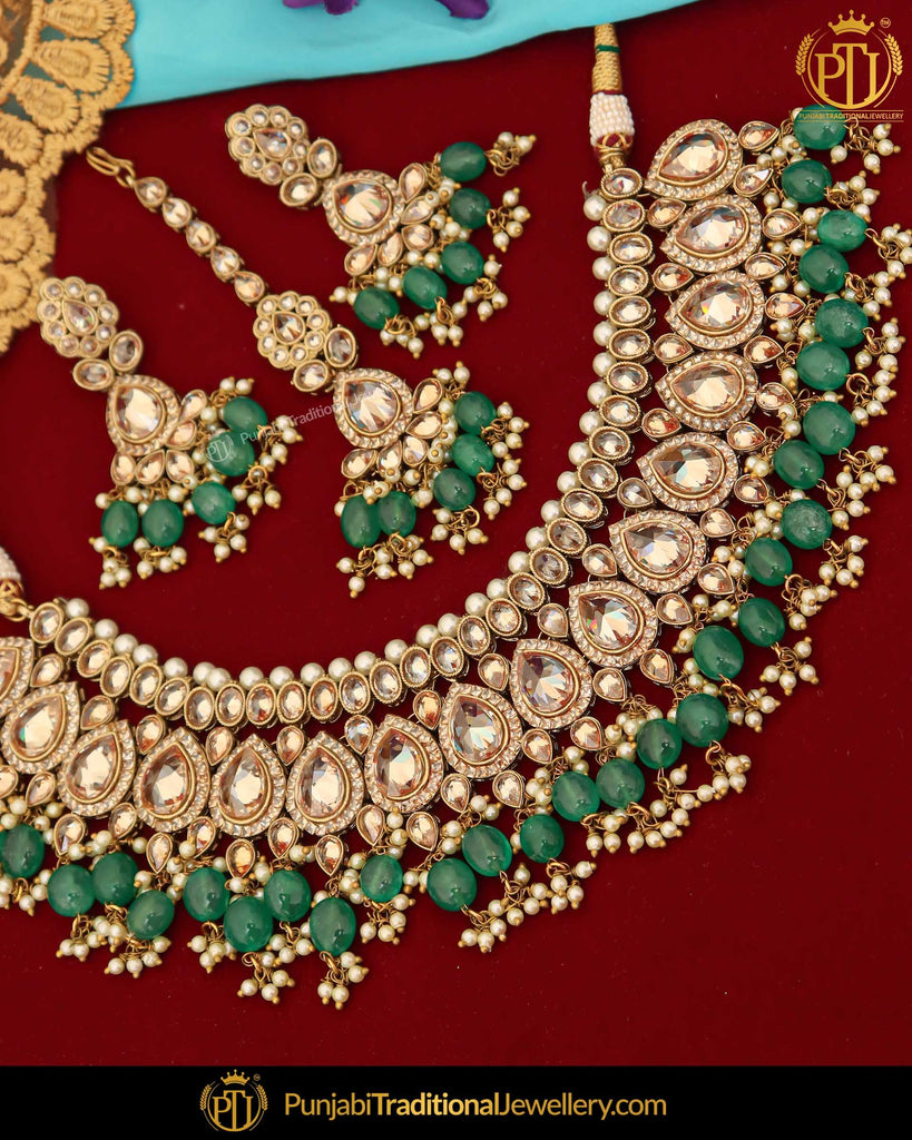 Gold Finished Champagne Stone Green Pearl Necklace Set | Punjabi Traditional Jewellery Exclusive