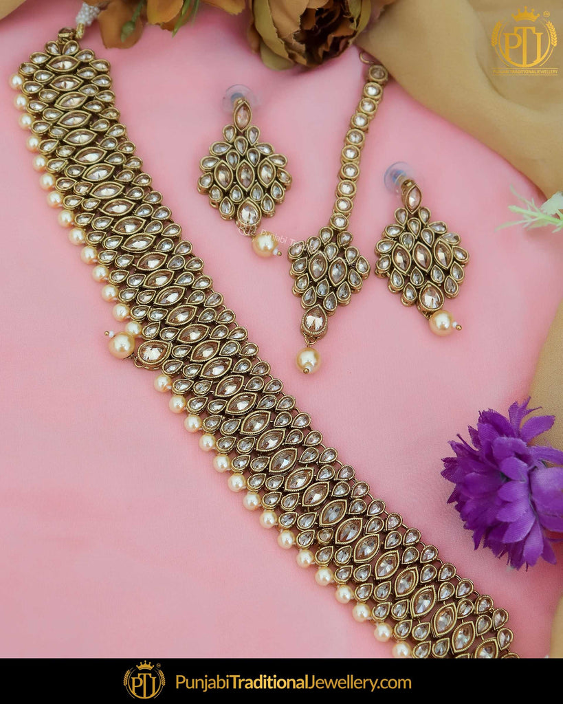 Gold Finished Champagne Stone Choker Necklace Set | Punjabi Traditional Jewellery Exclusive