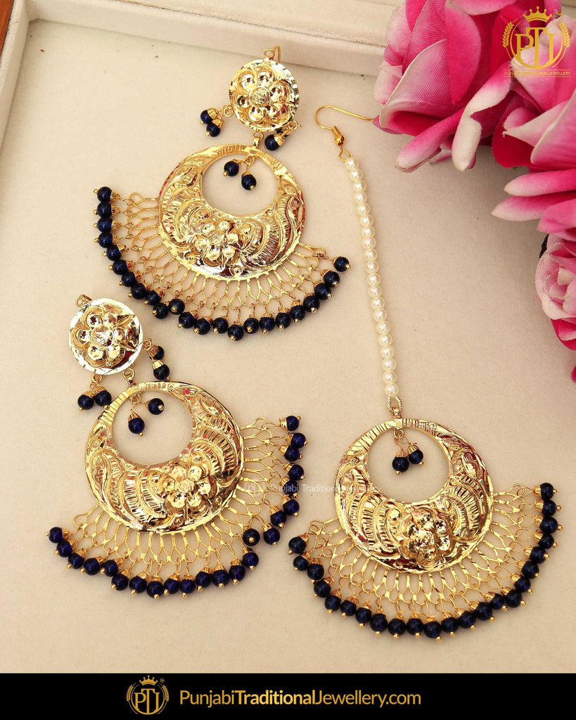 Gold Finished Black Patra Pearl Earring Tikka Set  | Punjabi Traditional Jewellery Exclusive