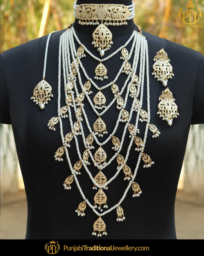 Gold Finished Pearl Bridal Jadau Choker With Long Necklace Set | Punjabi Traditional Jewellery Exclusive