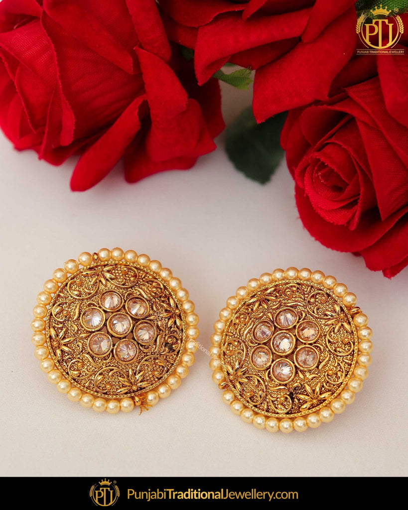 Antique Gold Finished Polki Pearl Stud Earrings | Punjabi Traditional Jewellery Exclusive