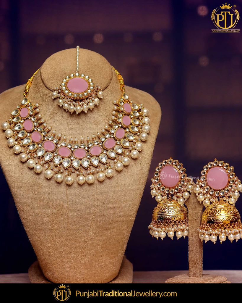 Gold Finished Kundan Pearl Pink Necklace Set | Punjabi Traditional Jewellery Exclusive