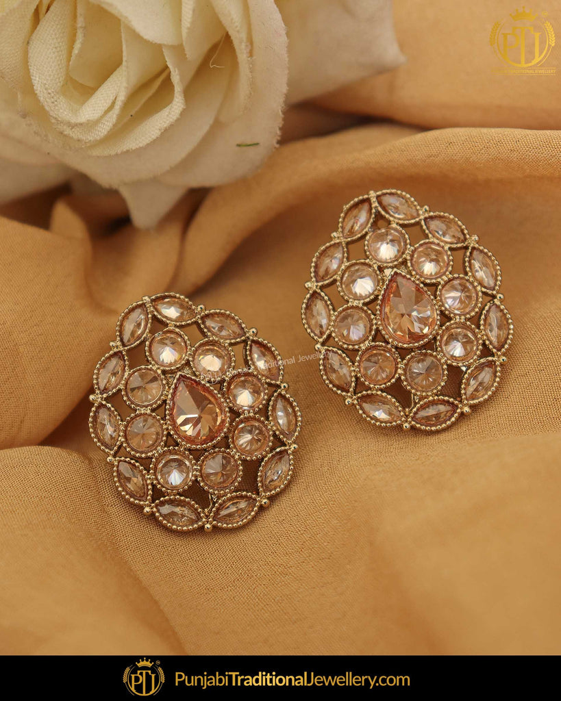 Gold Finished Champagne Stone Pearl Stud Earrings | Punjabi Traditional Jewellery Exclusive