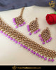 Gold Finished Pink Chamapgne Stone Pearl Choker Necklace Set | Punjabi Traditional Jewellery Exclusive