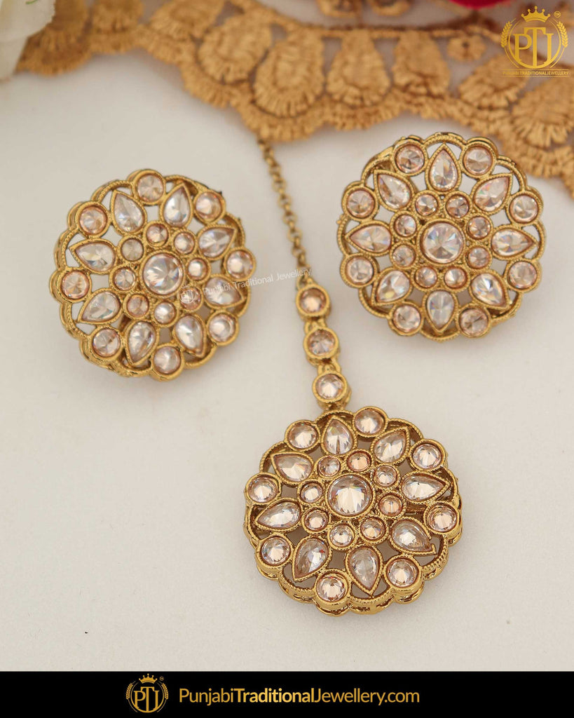 Gold Finished Champagne Stone Pearl Stud Earring Tikka Set | Punjabi Traditional Jewellery Exclusive