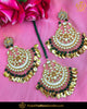 Gold Finished Pippal Patti Emerald Pearl Kundan Earring Tikka Set | Punjabi Traditional Jewellery Exclusive