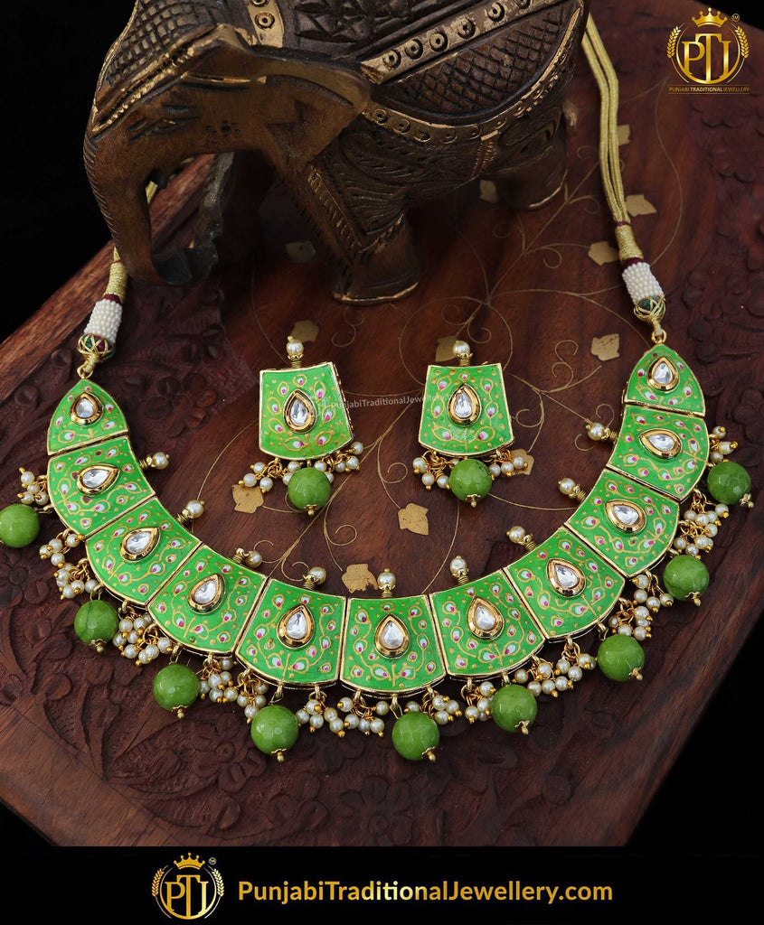 Hand Painted Meena Green Pearl Kundan Necklace Set | Punjabi Traditional Jewellery Exclusive