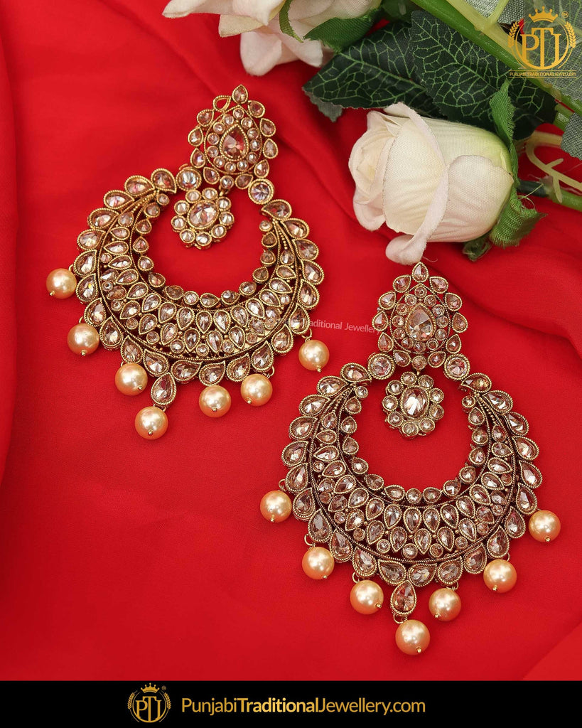 Gold Finished Pink Champagne Stone Pearl Earrings  | Punjabi Traditional Jewellery Exclusive