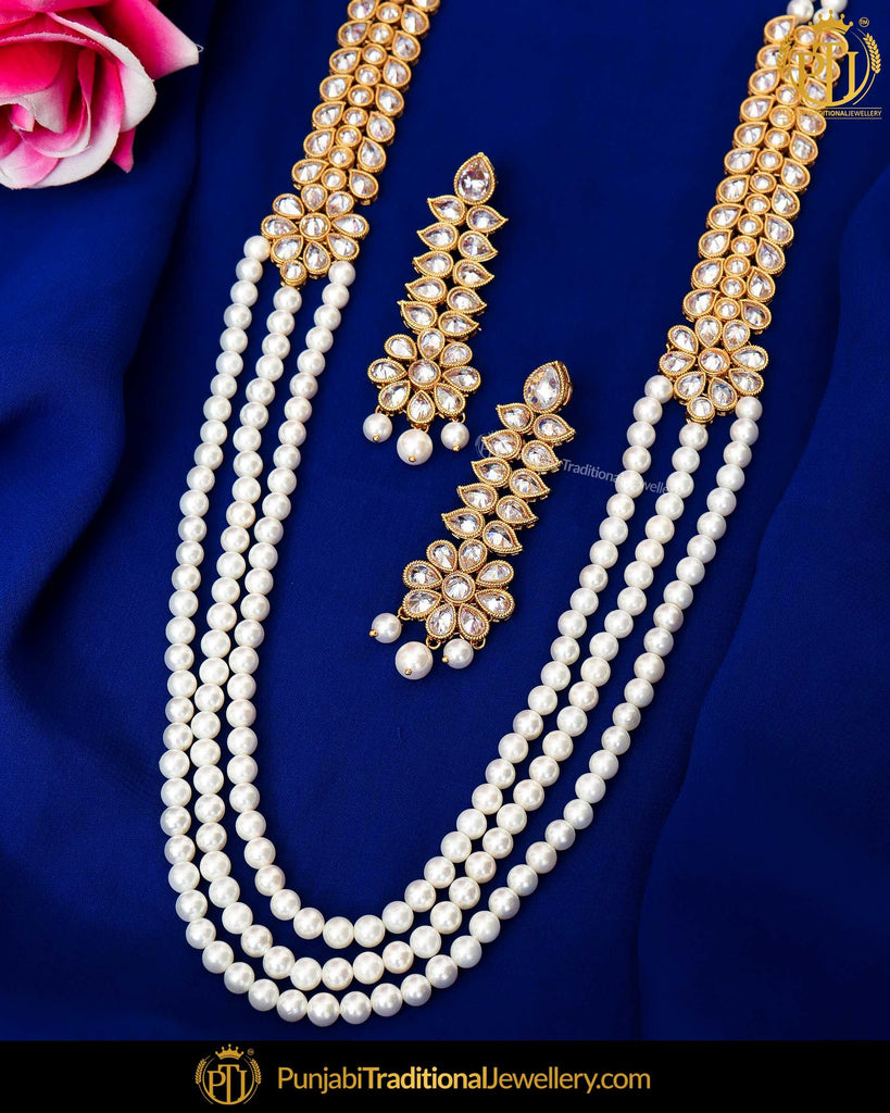 Antique Gold Finished Champagne Stone Pearl Long  Set  | Punjabi Traditional Jewellery Exclusive