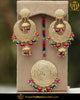 Gold Finished Navratan Jadau Earring Tikka Set | Punjabi Traditional Jewellery Exclusive
