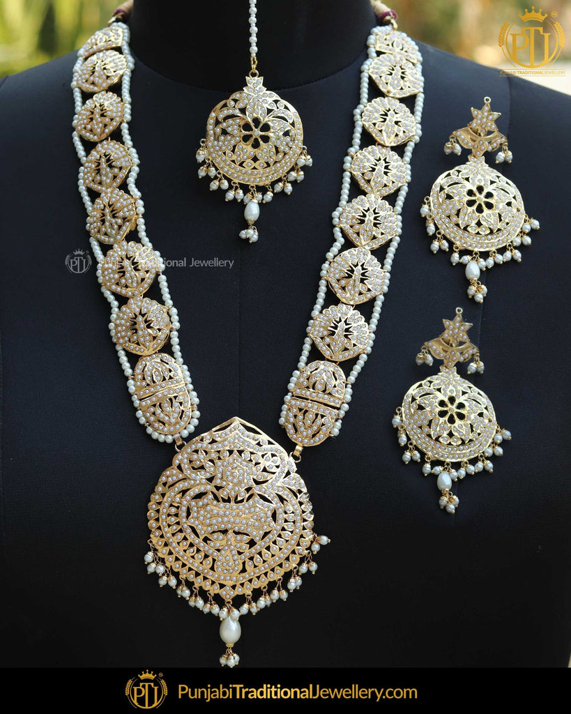 Gold Finished Pearl Bridal Jadau Long Necklace Set | Punjabi Traditional Jewellery Exclusive