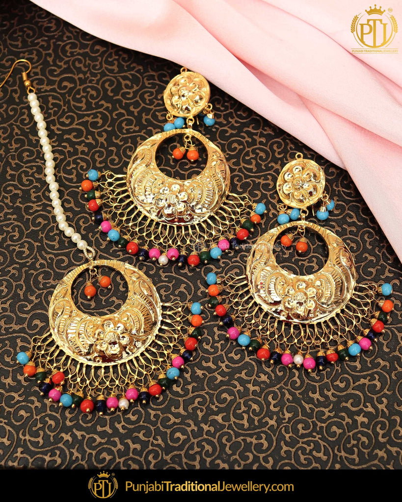 Gold Finished Navratan Patra Pearl Earring Tikka Set  | Punjabi Traditional Jewellery Exclusive