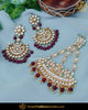 Gold Finished Pearl Rubby Kundan Passa & Earrings | Punjabi Traditional Jewellery Exclusive