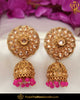Gold Finished Chamapgne Stone Pearl Jhumki Pink Earrings | Punjabi Traditional Jewellery Exclusive