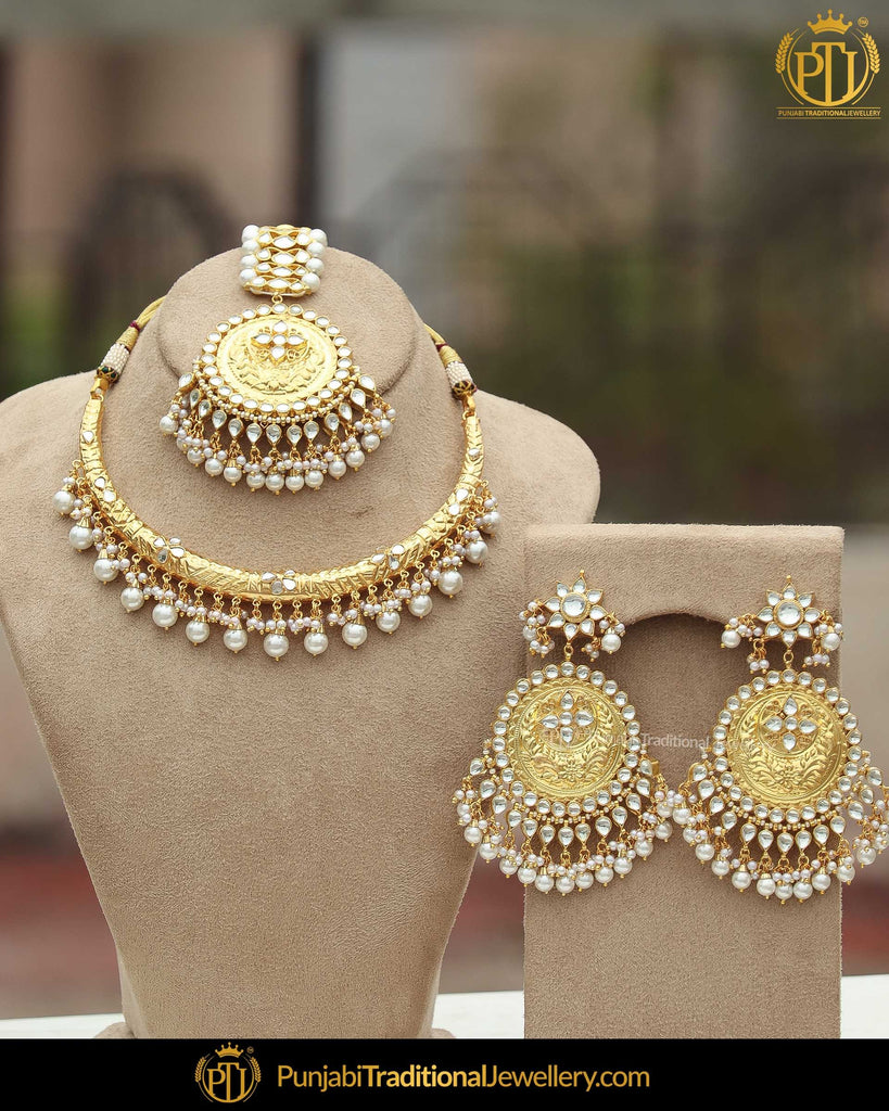 Gold Finished Pearl Kundan Hasli Necklace Set | Punjabi Traditional Jewellery Exclusive
