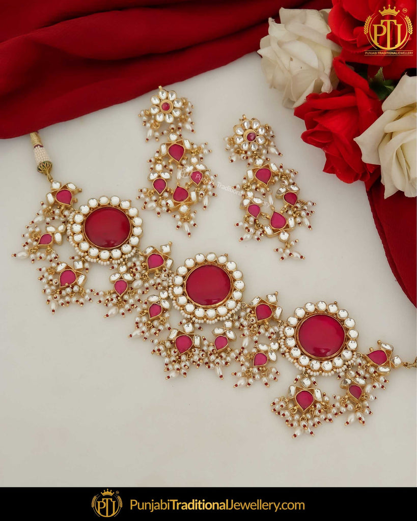 Gold Finished Red Kundan Pearl Choker Set | Punjabi Traditional Jewellery Exclusive