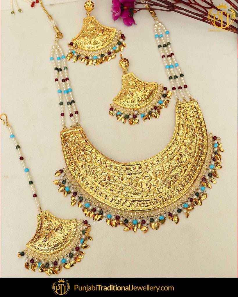 Gold Finished Pippal Patti Pearl Patra Long Necklace Set | Punjabi Traditional Jewellery Exclusive