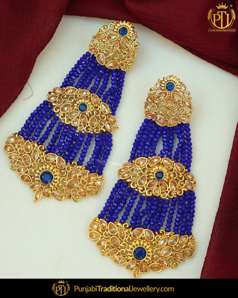 Gold Finished Blue Polki Pearl Earring Tikka Set | Punjabi Traditional Jewellery Exclusive