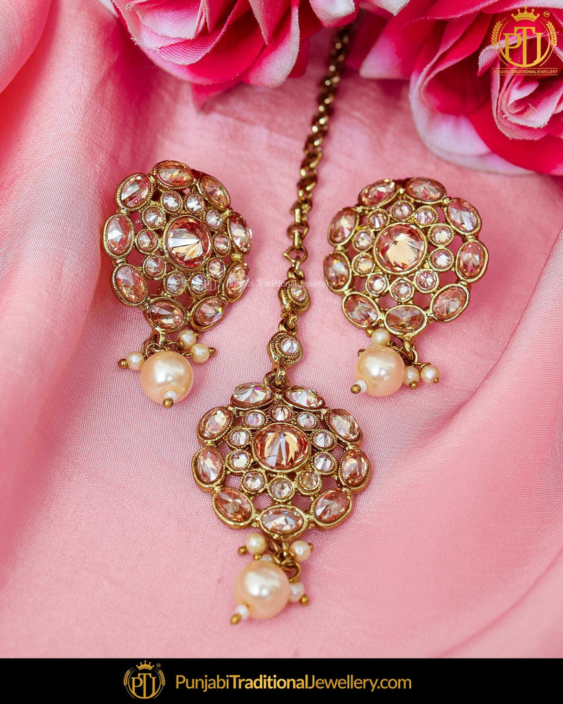 Gold Finished Chamapgne Stone Pearl Stud Earrings & Tikka | Punjabi Traditional Jewellery Exclusive