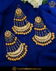 Gold Finished Golden Kundan Pearl Earrings With Passa | Punjabi Traditional Jewellery Exclusive